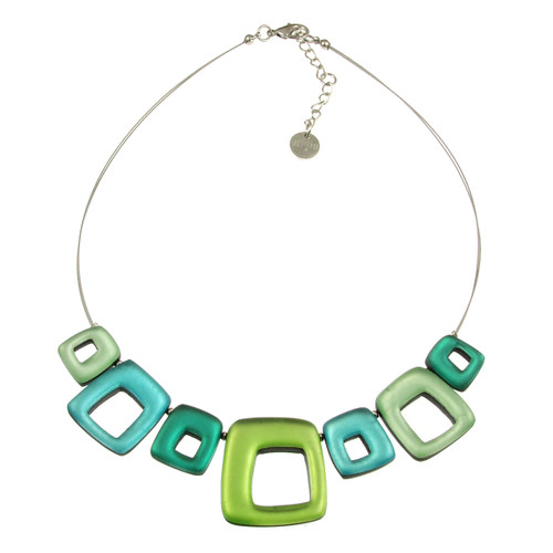 415-3 - HOLLOW SQUARES NECKLACE - ORCHARD COMBI