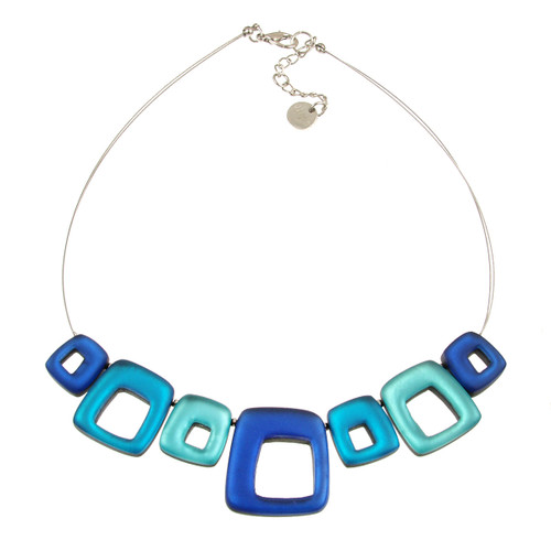 415-2 - HOLLOW SQUARES NECKLACE - TURQUOISE COMBI