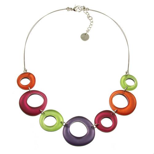 1723-55- Hollow Circles Necklace - Sherbet Combi