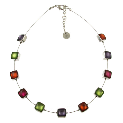 412-55 - Aluminum Shiny Squares Necklace Sherbet Combi