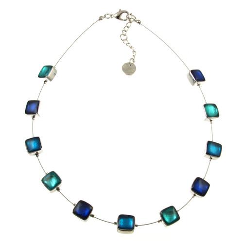 412-2 - Aluminum Shiny Squares Necklace Turquoise Combi