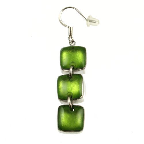 461-3 - Aluminum Shiny Squares Earring Lime