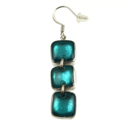 461-2 - Aluminum Shiny Squares Earring Turquoise