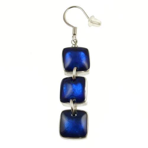 461-29- Aluminum Shiny Squares Earring Dark Blue