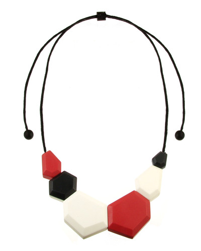 154-5 - Coral/Black/Ecru White Necklace