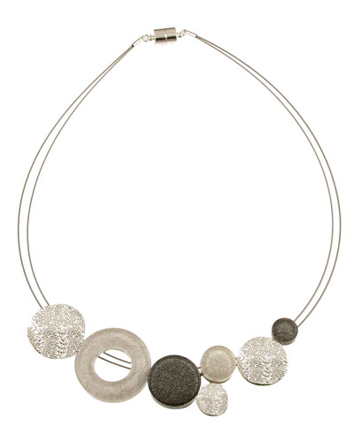3399-1 - White/Grey Marble Resin Necklace