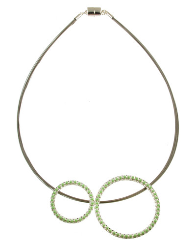 5180-3 - Shiny Silver/Green Oil Circle Necklace