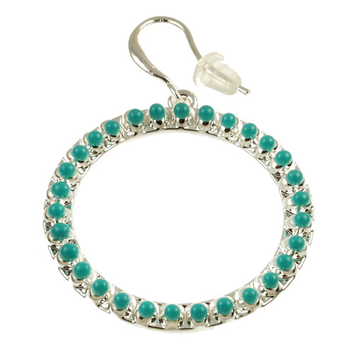8070-5 - Matte Silver/Turquoise Oil Circle Earring