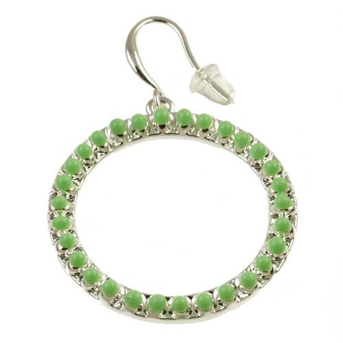 8070-3 - Matte Silver/Green Oil Circle Earring