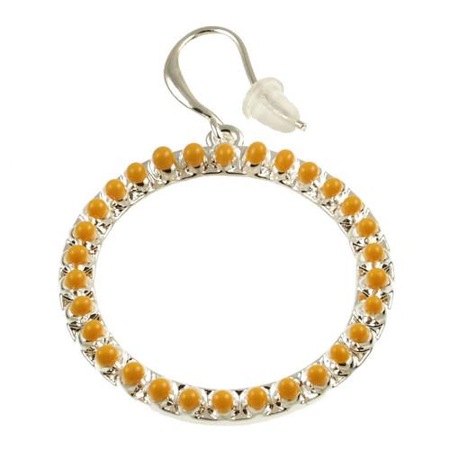 8070-89 - Matte Silver/Yellow Oil Circle Earring