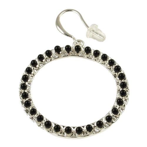 8070-4 - Matte Silver/Black Oil Circle Earring
