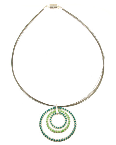 5181-5 - Matte Silver/Turquoise/Green Oil Circle Necklace