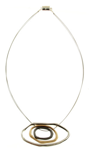 5172-1 - GOLD/METALLIC GUNMETAL CIRCLE PENDANT