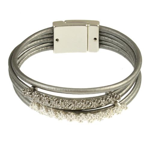 6258-1 -Matte Silver/Grey/White Bracelet