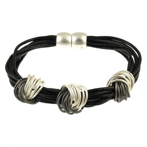 Silver/Gun Metal/Black Magnetic Bracelet