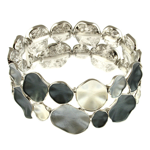 934-1 - SILVER/GREY COMBI STRETCH BRACELET