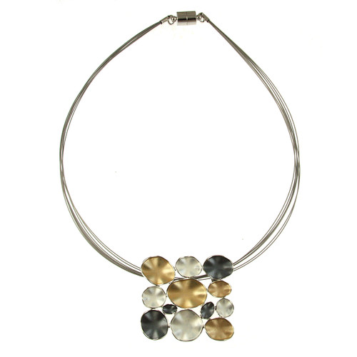 933-7 - SQUARE SILVER/GOLD/GREY COMBI MAGNETIC LOCK PENDANT