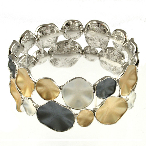 934-7 - GOLD/SILVER/GREY STRETCH BRACELET