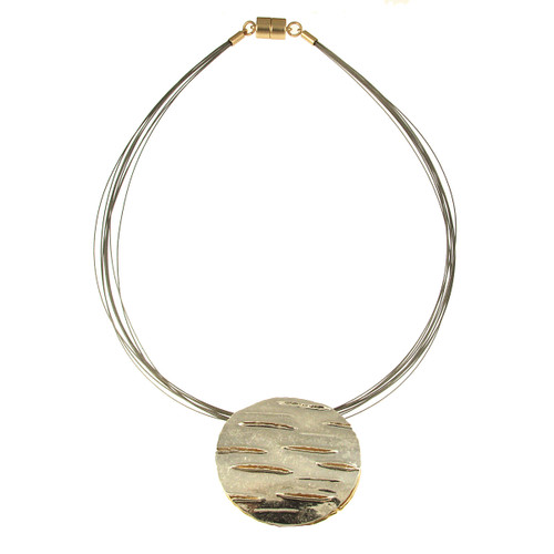 5187--2 - REVERSIBLE SAND SILVER/LIGHT MATTE GOLD ROUND PENDANT
