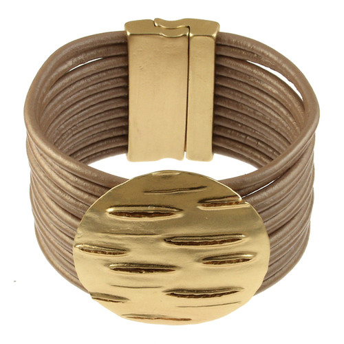 6240-63 - LIGHT MATTE GOLD/CHAMPAGNE ROUND LEATHER BRACELET