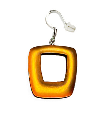 419-5 - HOLLOW SQUARE EARRING - ORANGE
