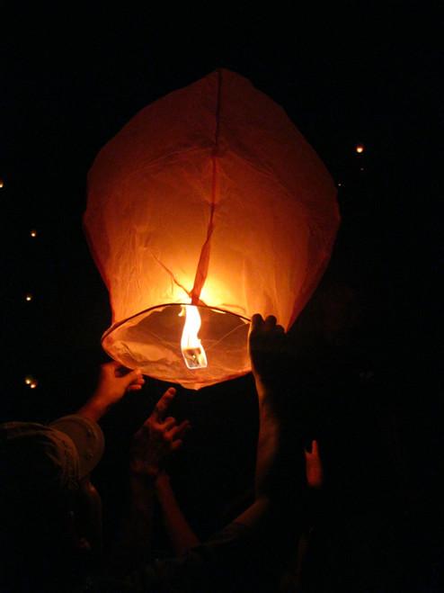 Burning Flying Lanterns