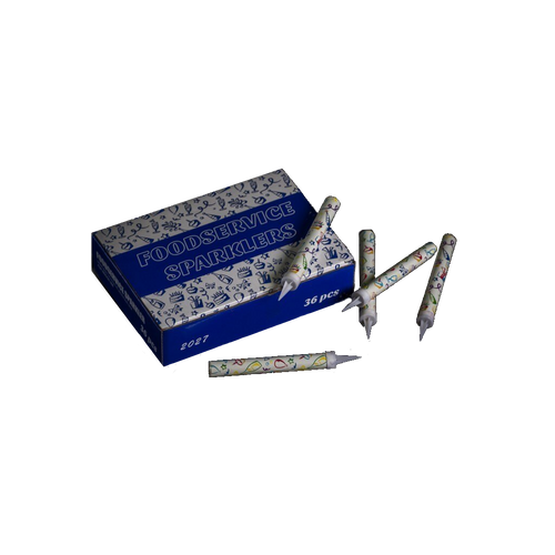 Cake and bottle sparklers.  Packet of 36 individual sparklers