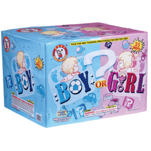 You will be surprised as well as your guest to display this fireworks box to the color of your Gender. Simply have someone that knows the sex come in and choose the right color. This blue 500 gram cake has a fan firing pattern with mine effects approximate 165 feet in height.