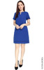Notch Neck Shift Dress - Cobalt