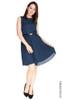 Polka Dot Pleated Dress - Navy