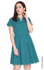Scallop Hem Pleated Dress - Teal