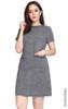 Tweed Pockets Shift Dress - Grey