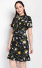 Floral Ruffle Hem Dress - Black