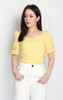 Eyelet Puff Sleeves Top - Yellow