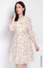 Floral Pleated Chiffon Dress - Cream