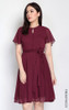 Dobby Dot Chiffon Dress - Burgundy