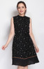 Printed High Neck Dress - Black