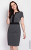 Notch Neck Pencil Dress - Grey
