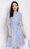 Floral Mandarin Collar Dress - Baby Blue