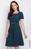 Square Neck Flare Dress - Petrol Blue