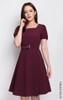 Square Neck Flare Dress - Wine