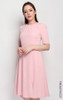 Side Buttons Flare Dress - Pink