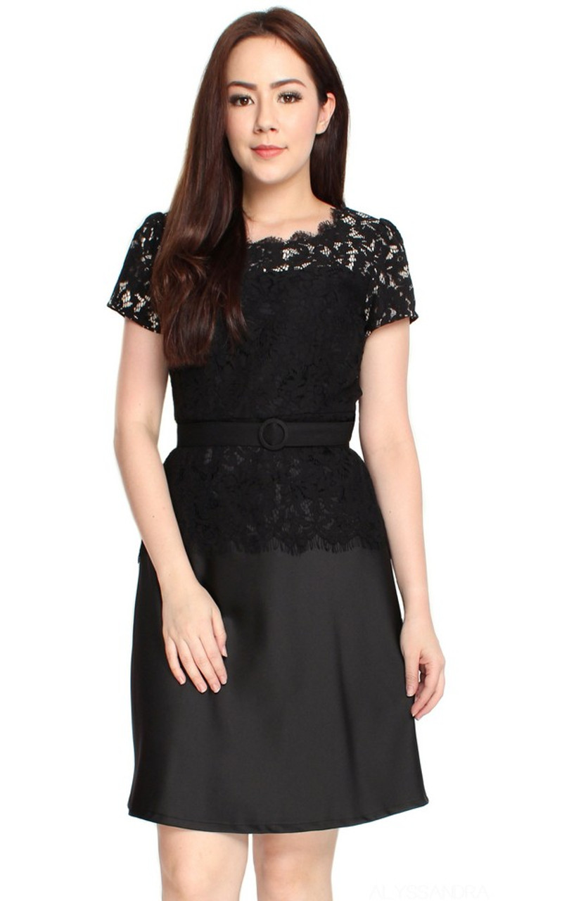 4e57885e90 Lace Top Flare Satin Dress - Black