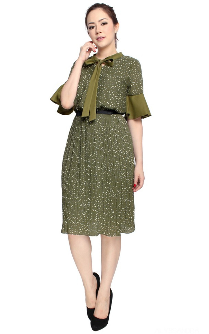 4c33f591 Polka Dot Pleated Dress - Olive | ALYSSANDRA | Online Boutique for Office  Wear Singapore