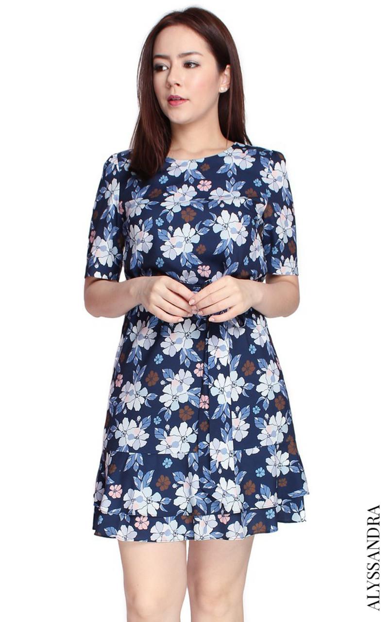 9e053304d88 Floral Tiered Hem Dress - Navy
