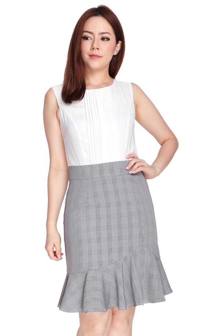 6f23ad548 Pintuck Top Ruffle Hem Dress - White   Singapore Online Work Dresses    ALYSSANDRA