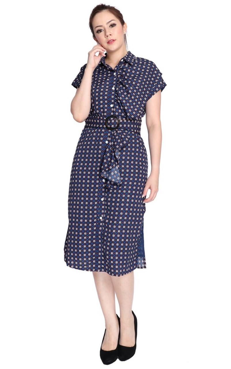 c8580960d13 Printed Ruffle Shirt Dress