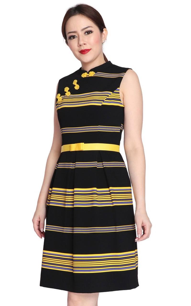 fee12b1ac Striped Cheongsam - Yellow | Singapore online shop for modern cheongsam |  ALYSSANDRA