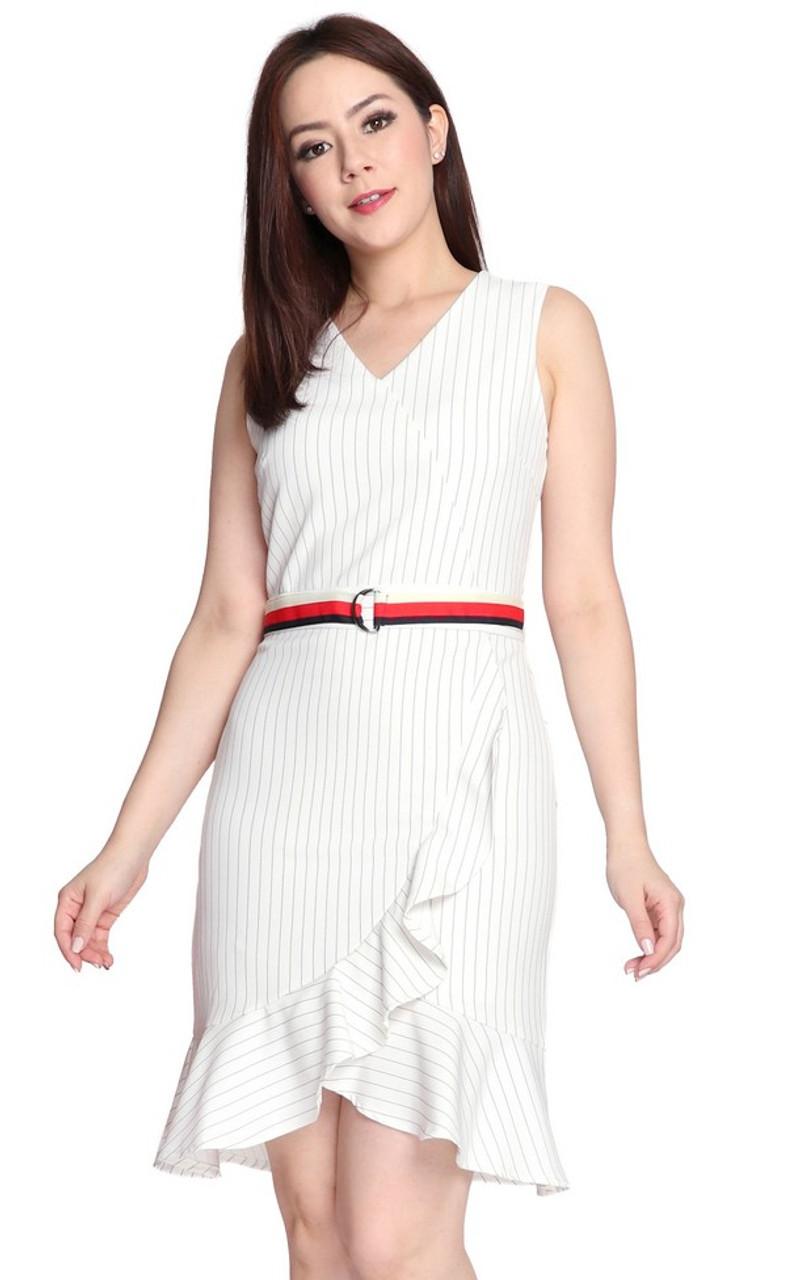 881792765 Pinstripe Ruffle Hem Dress - Milky White   Online Boutique for Quality  Office Wear   ALYSSANDRA