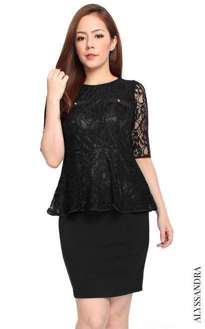 Lace Top Peplum Dress - Black